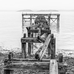 Aberdour Pier Square Crop (roseysnapper) Tags: bw firth forth inchcolm abbey incholm island nikkor 2470 f28 nikon d810 black white square crop aberdour fife scotland calm coast decay landscape misty monochrome peaceful pier river rot ruin sea seascape serene shore water wood