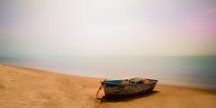 """Lone Dory"" (Manuela Durson) Tags: seascape dory boat fishingboat sand beach ocean summer sun ethereal fine art water"