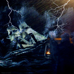 The Tempest (Lemon~art) Tags: thetempest williamshakespeare boat storm rain lightning person candle lamp manipulation texture magic manwithlamp man