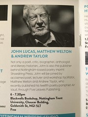 Tomorrow, reading in Nottingham with John Lucas and Matt Welton (Dradny) Tags: nottingham blackwells nottinghampoetryfestival mattwelton johnlucas poets poetry