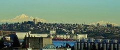 Mt. Baker (100+km away in the USA) from our  home (peggyhr) Tags: peggyhr mountbaker harbour secondnarrowsbridge grainsilos cranes vancouver bc canada dsc00035b pano thegalaxy level1pfr thelooklevel1red thelooklevel2yellow thelooklevel3orange thegalaxystars thegalaxystarshall0ffame frameit~level01~ 30faves~