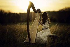 The Song of the Setting Sun (Phillip Haumesser Photography) Tags: light portrait harp music celtic sunset gold golden girl littlegirl sony rokinon 85mm philliphaumesser