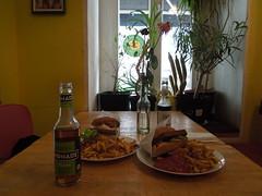 Cheese Burger +  Bavarian Vleischkäse Burger  @Yoyo Foodworld Berlin Friedrichshain (conticium) Tags: berlin friedrichshain lunch mittag yoyo burger vegan vegetarisch restaurant pommes