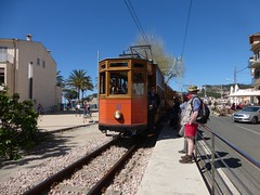 Soller tram at Port de Soller (luckypenguin) Tags: spain majorca mallorca balearics balearicislands soller port portdesoller tram