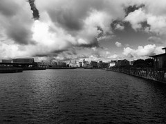 under a cloudy sky (vfrgk) Tags: cloudy cloudysky cloudporn cloudscape liverpool docks queensdock baltictriangle cityscape liverbuildings monochrome blackandwhite bw