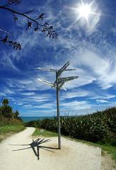 World signpost (Bilderschreiber) Tags: world signpost cape fowlwind walkway track west coast westcoast küste wegweiser sonne sun shadow schatten wideangle weitwinkel neuseeland newzealand southisland südinsel taurangabay tauranga bay bucht