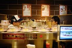 Sushi belt dialogue (polybazze) Tags: fuji fujifilm x100t summer vacation urban asia travel kualalumpur malaysia sushi restaurant food dialogue