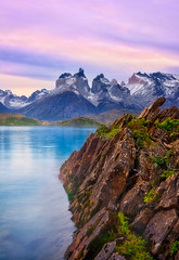 Misty Pehoe (Russmosis) Tags: nature landscape sunset sunrise fog lake rocks mountain torresdelpaine patagonia chile cloudy day lagopehoe