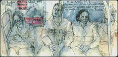 F train in Brooklyn: Regresamos del dentista. 13 de abríl, 2017. (Sharon Frost) Tags: bombs wnyc passengers afganistan subways publictransportation cellphones reading brooklyn dentists urbansketchers drawings paintings journals daybooks notebooks sketchbooks globalartmaterials sharonfrost