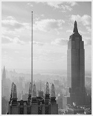 Skyline view - Empire State Building / New York (ca.1939) (cobravictor) Tags: vintagenewyork viewmanhattan skyline skyscrapers empirestatebuilding1931 midtownmanhattan sky vintage oldpics bw history architecture