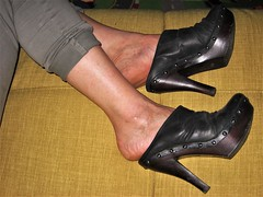 relax in black clogs (al_garcia) Tags: high heels clogs sandals mules shoes stiletto feet toes toenails long hard calloused cracked soles sweaty anklets