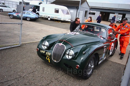 The Jaguar Challenge competitors after their race at the Donington Historic Festival 2017