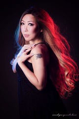 """""""Fire and Ice"""" 💥❄️💥 (sandys eyecatcher) Tags: model style dramatic mood drama studio light canon asian beautiful beauty boudoir glamour hot sexy portraiture portrait blue red gels blonde woman"""