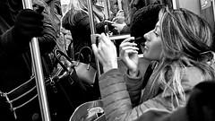 Rush Hour (draketoulouse) Tags: chicago lakeview brownline cta commute am train publictransportation public transportation subway blackandwhite monochrome people passenger city urban