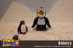 Beliefs (EVWEB) Tags: lego minifigure ice penguin penguins artic iceberg snow cold humor happy fun fly boy guy suit