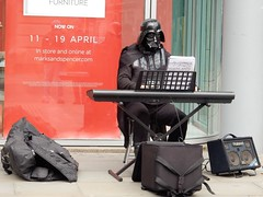 Star Wars arrives at M and S! (deltrems) Tags: manchester city centre people busker entertainers marksandspencer marks spencer starwars star wars black shadow stormtrooper musician