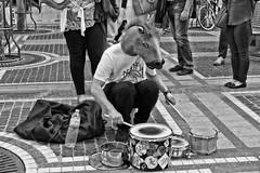Drumming horse (JB Fotofan) Tags: streetphotography street zeil frankfurt strase schwarzweiss blackwhite bw lumixfz1000 musiker action