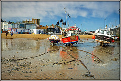 Fishing boats, Broadstairs. (Jason 87030) Tags: tide tidal sea coast water seside beach sand chains industry boats vessels craft sky blue sunny thanet broadstairs uk england greatbritain unitedkingdom vista view sony a6000 ilce alpha nex lens wet april 2017 holiday britain