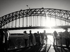 Sydney Harbour Bridge (missgeok) Tags: sydneyharbourbridge tourists sunset circularquay sydneyharbour cruiseship bnw monochrome people australia blackandwhite sunflare touristattraction lightandshadow mood atmosphere sunny