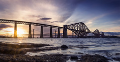 Forth Bridge Sunset (MatMat Brown) Tags: edinburgh forth forthrailbridge forthbridge sunset seaside seascape scotland sea bridge rocks water