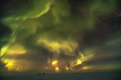 Aurora Storm over DarkSector (redfurwolf) Tags: southpole aurora antarctica antarctic auroraaustralis snow ice sky dark night nightsky outdoor light yellow green spt southpoletelescope mapo redfurwolf keck telescope sonyalpha nature landscape sony a99ii sal1635f28za