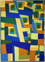 Project Night Night Quilt (Mle BB) Tags: blue orange green lines yellow quilt cotton solids quilted improv straight improvised kona episode solid 305 quilty pieced piecing robertkaufman konacotton