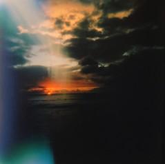 Alamoana holga sunset (bunbunlife) Tags: sunset 120 film hawaii holga waikiki oahu medium format 808 uploaded:by=flickrmobile flickriosapp:filter=nofilter