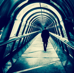 Walking away (Benoit photography) Tags: pictures street city bridge urban white black beautiful photoshop walking la europe european photographer photographie photos images photograph fotos streetphoto bild defense lightroom photograpy 2013