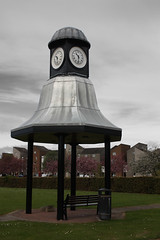 Bell clock Musselburgh. (Lobhdain) Tags: houses white black art clock grass silver aluminum different time bell unique seat hedge unusual eastlothian musselburgh