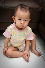 What are you looking at? (CeeKay's Pix) Tags: baby brown girl tile sitting floor diaper sofa sit charlize koay