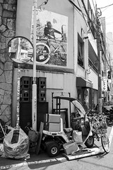 Street corner and bikes - still, Asakusa, Tokyo (fabiolug) Tags: road street leica light shadow blackandwhite bw reflection building monochrome lines bike bicycle japan shop wall corner buildings reflections japanese tokyo mirror blackwhite still asia geometry 28mm streetphotography bikes rangefinder wideangle bicycles cables monochrom cart asakusa streetcorner asphalt oldtown biancoenero crates bikeshop urbangeometry bikerepair leicam konicahexanon konicahexanonar28mmf35 konicahexanon28mm mmonochrom leicammonochrom leicamonochrom