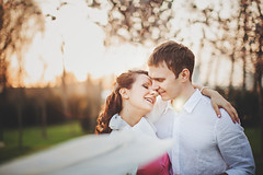 Evening Together (Yuliya Bahr) Tags: family sunset portrait love smile evening engagement together lovestory
