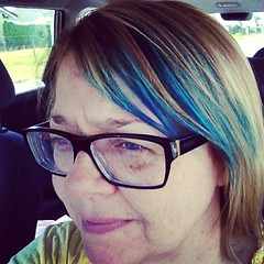 18/6.2013 - teal highlights (julochka) Tags: blue hair square squareformat selfie iwasdriving iphoneography instagramapp xproii uploaded:by=instagram thatsnotatalldangerous