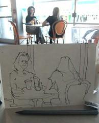 """girl talk' - 6B pencil (Nora MacPhail) Tags: toronto pencil sketch drawing sketching sketchbook draw sketchkit urbansketchers"