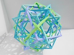 Five Interlocking Hyperboloidal Tetrahedrically Distorted Rhombic Dodecaheda (Byriah Loper) (Byriah Loper) Tags: geometric paper compound origami complex paperfolding polyhedron modularorigami pentagonal copypaper byriahloper