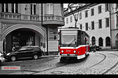 Prague Tram Colour Splash (Vipul Raghav) Tags: street new old city travel blue friends red summer vacation people blackandwhite bw india white holiday black color art fall me car architecture vintage square de geotagged fun photography town photo nikon europe track raw day prague market photos go tram rail railway stop citycenter mitsubishi iphone d7000 iphoneography instagramapp