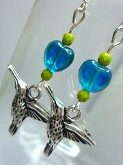etsy earringshummingbirdsjewelleryglassbeadsbluegreengreenlakeblue greenlakeblueshop