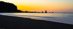 First Light of the Day, Revised, LaPush, Washington (shadow1621) Tags: black beach rock contrast sunrise washington colorful silhouettes olympics pillars textured