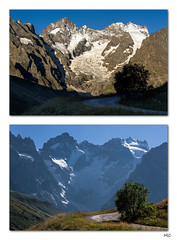 MornEve (Michel Couprie) Tags: road morning light shadow snow alps tree ice rock montagne alpes canon eos 50mm evening diptych fance lumire pass ombre glaci