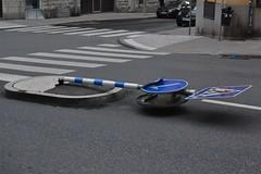 2013-09-28: Broken Crossing Sign (psyxjaw) Tags: road blue autumn holiday broken sign crossing traffic flat sweden stockholm september bent knockedover