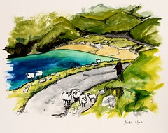 Keem, Achill (Isolde Clynes) Tags: city bridge autumn ireland wedding sea dublin india elephant tree galway beach birds pen ink painting landscape island fishing sheep market fort delhi chinese lakes caves spices watercolour monkeys mumbai nets camels wexford cochin achill kochi inis elephanta bhopal clontarf oirr curracloe