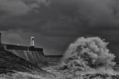 Wave Action (angeladj1) Tags: lighthouse storm wales wave stormy seas porthcawl