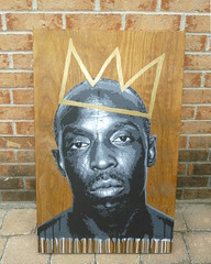King Omar (mc.art) Tags: wood portrait stencils detail art face painting gold michael gangster wire artwork stencil paint king acrylic williams little maryland baltimore marker layer crown layers omar scar hbo realism scarface realistic