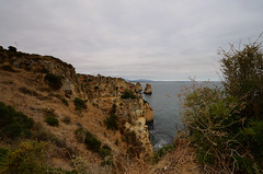The Algarve - Lagos Vista (rschnaible) Tags: ocean sea sky color portugal water sandstone colorful day view cloudy cliffs lagos coastal western vista geology algarve the seacape geologic