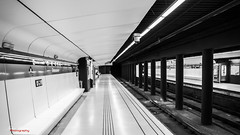 Abandoned Subway (Jeton Bajrami) Tags: barcelona white black art train subway spain noir artistic metro sony mtro catalunya alpha et espagne blanc barcelone solitaire sousterrain a77 spania abandonn catalogne 1650mm alpha77