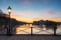 Sunrise on the Pont des Arts (David Bertho) Tags: paris france pontdesarts bridge seine french parisian sunrise sunset bluehour colorful water river cityscape calm quiet morning early travel