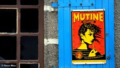 Mutine (patrick_milan) Tags: mutine girl beer sign letter red rouge rot yellow jaune volet bleu blue window bar pub café