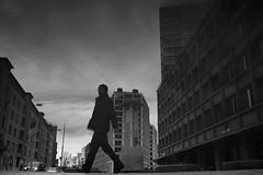 Europaallee (maekke) Tags: zürich reflection puddlegram architecture urban silhouette europaallee sbb fujifilm x100t man streetphotography 35mm bw noiretblanc 2017 ch switzerland