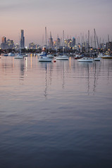 DSC_1895 [ps] - Trappings (Anyhoo) Tags: anyhoo photobyanyhoo stkilda melbourne victoria vic australia harbour sea water clam reflection still ripple placid city urban skyline horizon buildings density dense moored moorings boats marina dusk haze diffuse yachts