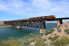 E-MCCCCO9-28, Topock, AZ (chief_huddleston) Tags: bnsf 7240 coal train railroad bridge es44dc ge coloradoriver